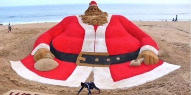 Indian Sand Artist's 45-Foot-Tall Santa Claus Eyes World