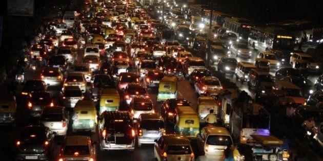 NEW DELHI, INDIA - NOVEMBER 17: Traffic Jam near ITO during the Chhath festival, on November 17, 2015...
