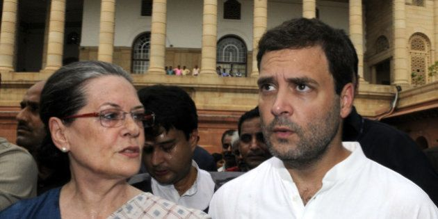 NEW DELHI, INDIA - AUGUST 4: Congress President Sonia Gandhi, and Congress Vice President Rahul Gandhi...