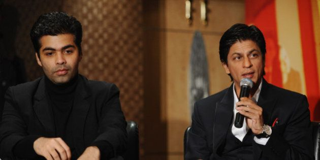 LONDON, ENGLAND - FEBRUARY 03: Karan Johar and Shah Rukh Khan attend the 'My Name Is Khan' press conference...