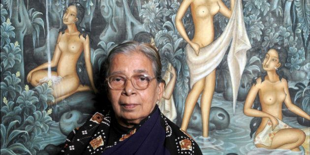 PARIS, FRANCE - NOVEMBER 19: Indian writer Mahasweta Devi poses during a portrait session held on November...