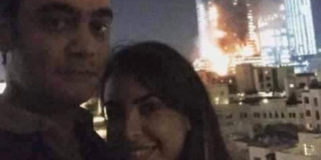 This Couple Is Getting Internet Hate For Clicking A Selfie While Flames Engulfed A Dubai