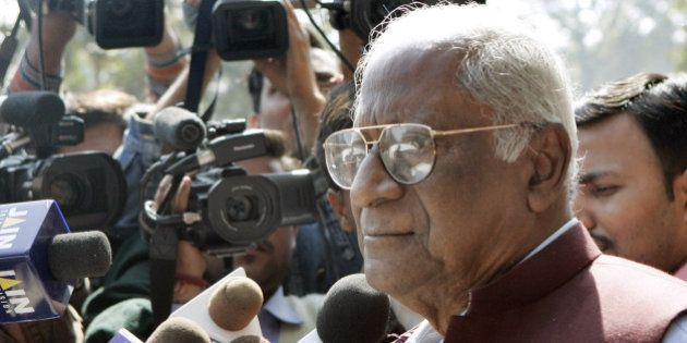 Communist Party of India leader AB Bardhan talks to the media after a press conference in New Delhi,...