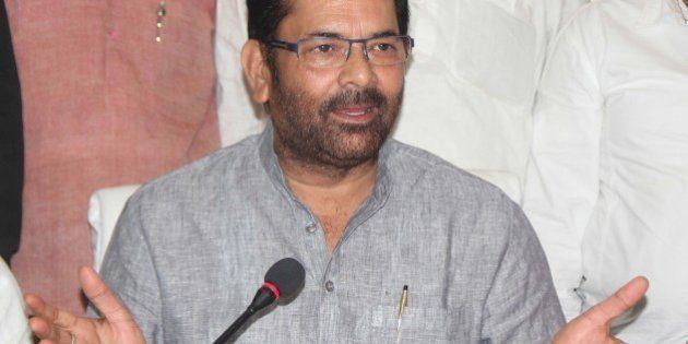 ALLAHABAD, INDIA - 2014/09/18: Bharatiya Janata Party (BJP) Vice-President Mukhtar Abbas Naqvi speaks...