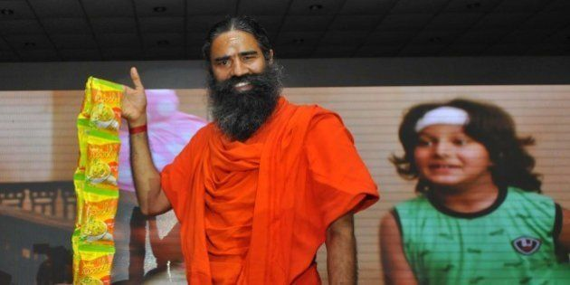NEW DELHI, INDIA NOVEMBER 16: Baba Ramdev launching Patanjali Atta Noodels on November 16, 2015 in New...