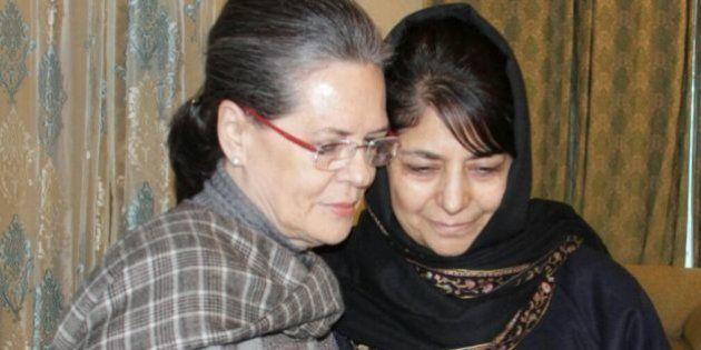 SRINAGAR, INDIA - JANUARY 10: Congress President Sonia Gandhi meets PDP President Mehbooba Mufti to offer...