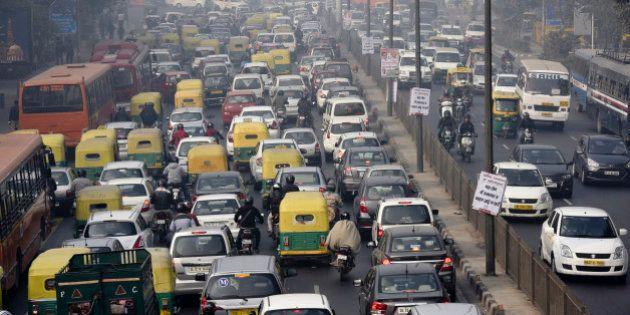 NEW DELHI, INDIA - JANUARY 4: Traffic during odd-even vehicle formula at ITO crossing on January 4, 2016...