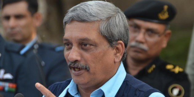PATHANKOT, INDIA - JANUARY 5: Defence Minister Manohar Parrikar addressing the media after a visit to...