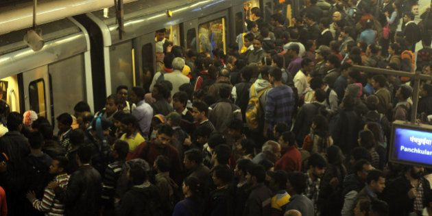 NEW DELHI, INDIA - JANUARY 5: People throng Rajeev Chowk Metro Station in large numbers on the fifth...