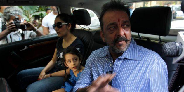 MUMBAI, INDIA - JANUARY 8: Bollywood actor Sanjay Dutt with wife Manyata and kids before leaving for...