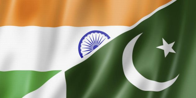 Mixed India and Pakistan flag, three dimensional render,