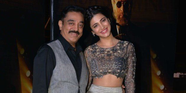 MUMBAI, MAHARASHTRA JANUARY 18: Kamal Haasan and Shruti Haasan at the music launch of Shamitabh and 1000...