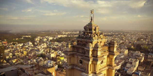 Asia, India, Tamil Nadu, View of temple with Trichy