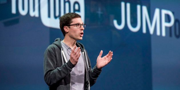 Clay Bavor, vice president of product management for Google Inc., speaks during the Google I/O Annual...