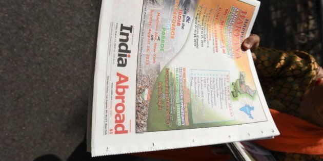 MANHATTAN, NEW YORK CITY, UNITED STATES - 2015/08/16: Copies of India Abroad magazine available at India...