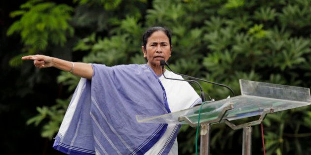 Chief Minister of West Bengal state Mamata Banerjee delivers a speech during a rally by student's wing...