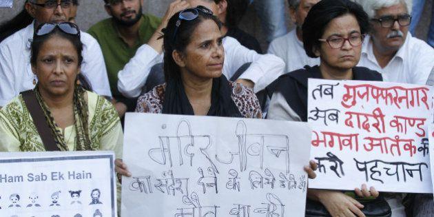 NEW DELHI, INDIA - OCTOBER 3: Members of Khudai Khidmatgar protest against the killing of Mohammed Akhlaq,...