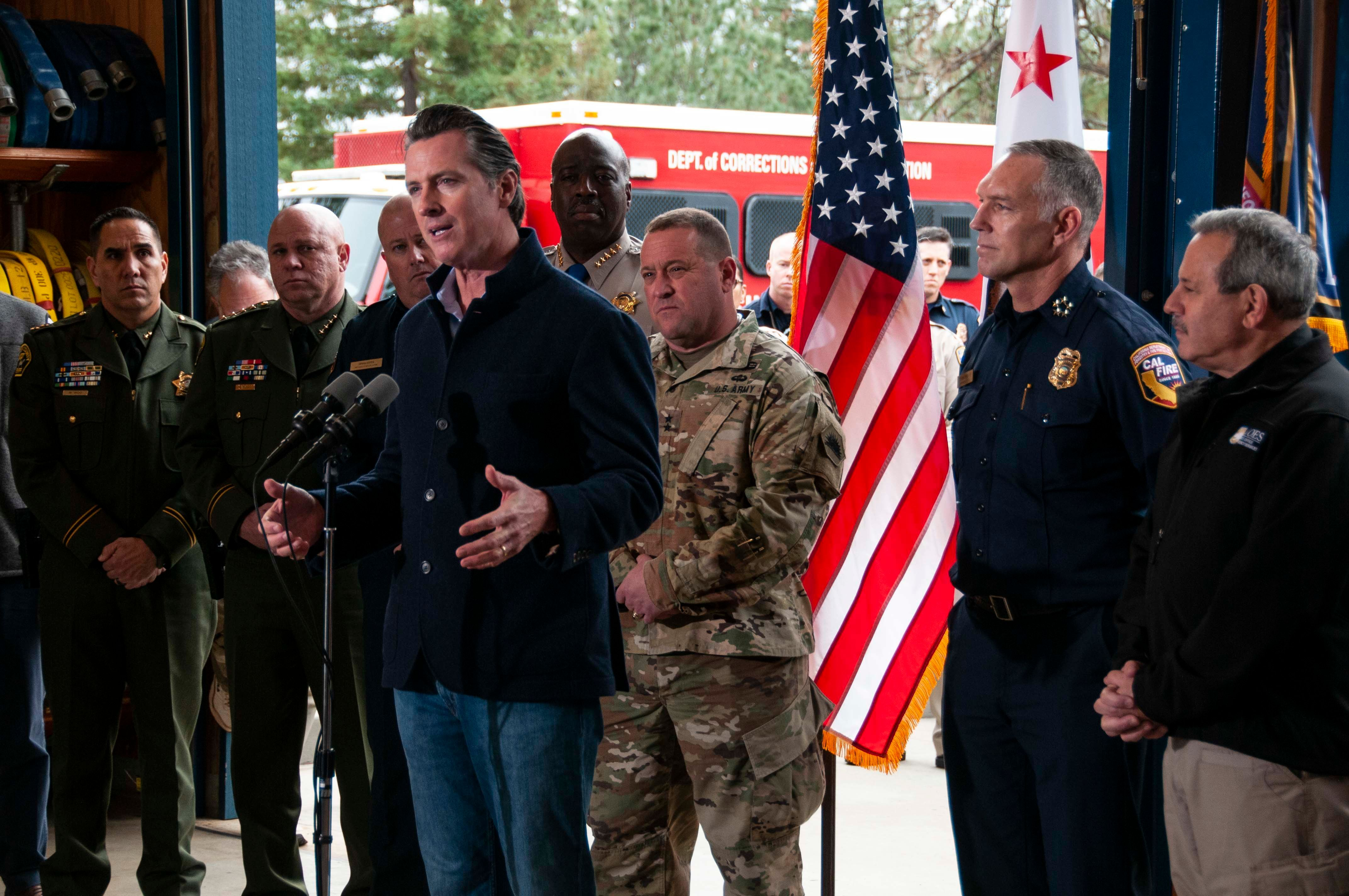 Gov. Gavin Newsom traveled to Colfax, California, to announce his wildfire plan of