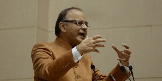 Indian Finance Minister Arun Jaitley speaks during the inaugural session of Start Up India in New Delhi on January 16, 2016. The Start Up India mission envisages technology business incubators and research facilities aimed at start-up entreperneurs. AFP PHOTO / Money SHARMA / AFP / MONEY SHARMA (Photo credit should read MONEY SHARMA/AFP/Getty Images)
