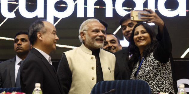 NEW DELHI, INDIA - JANUARY 16: Prime Minister Narendra Modi poses for a selfie with young founders of...