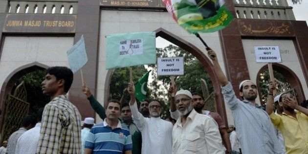 Indian Muslims protest against alleged statements made by Kamlesh Tiwari, working president of the Hindu...