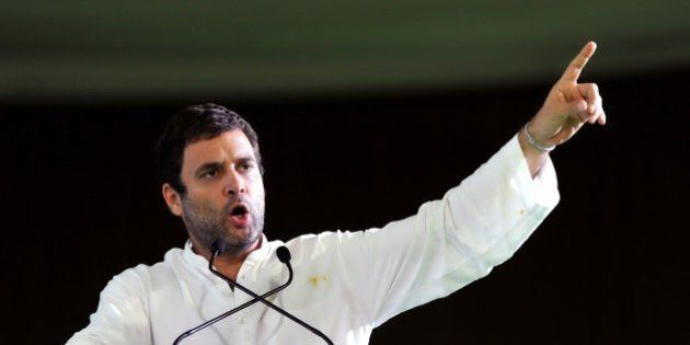 Vice President of the Indian National Congress Rahul Gandhi gestures while addressing the Gram Swaraj...