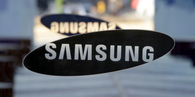 A logo of Samsung Electronics is seen at its showroom in Seoul, South Korea, Thursday, Jan. 8, 2015....