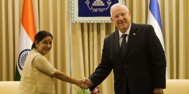 Israeli President Reuven Rivlin meets with Indian Foreign Minister Sushma Swaraj at his residence in...