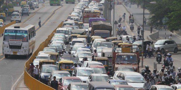 NEW DELHI, INDIA - OCTOBER 18: Heavy traffic jam at BRT stretch on October 18, 2010 in New Delhi, India....