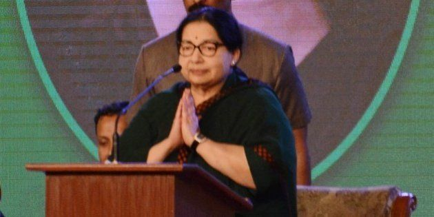 The Chief Minister of the southern Indian state of Tamil Nadu Jayalalithaa Jayaram gestures as she speaks...