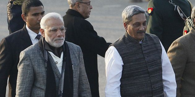 NEW DELHI, INDIA - JANUARY 29: Prime Minister Narendra Modi along with Defence Minister Manohar Parrikar,...