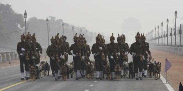 NEW DELHI, INDIA - JANUARY 17: Indian Army's Remount and Veterinary Corps (RVC) dogs trained for bomb...