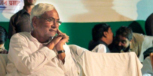 PATNA, INDIA - OCTOBER 24: Bihar Chief Minister Nitish Kumar during an election campaign, on October...