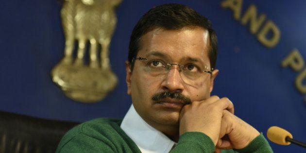NEW DELHI, INDIA - JANUARY 15: Delhi Chief Minister Arvind Kejriwal during a press conference at Delhi...