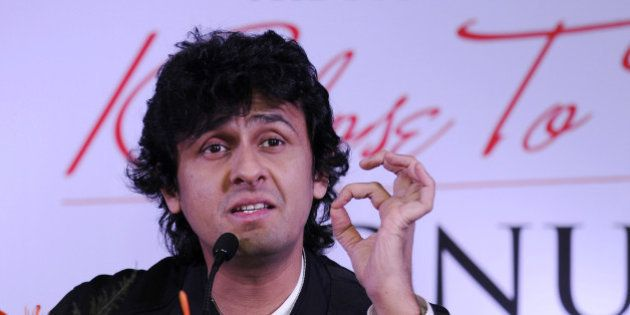 NOIDA, INDIA - NOVEMBER 11: Indian Bollywood playback singer Sonu Nigam speaks during a press conference...