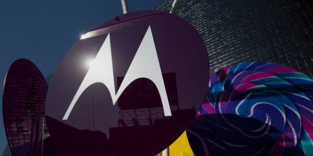 The Motorola Solutions Inc. logo is displayed during a Nextel de Mexico press conference in Mexico City,...