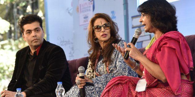 JAIPUR, INDIA - JANUARY 21: Karan Johar, Shobhaa De and Poonam Saxena during the session 'An Unsuitable...
