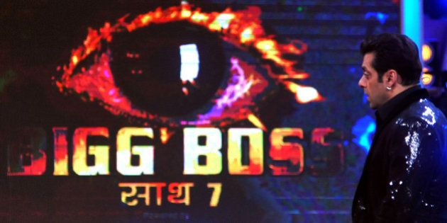 Indian Bollywood actor Salman Khan looks on while hosting the final of the reality show 'Bigg Boss 7...