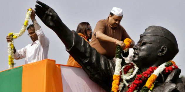 A statue of Subash Chandra Bose is garlanded during his birth anniversary in Kolkata, India, Monday,...