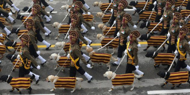 Indian army's dog squad march down Rajpath during the Republic Day parade in New Delhi, India, Tuesday,...