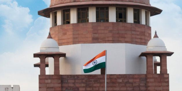 'High section view of a government building, Supreme Court, New Delhi,