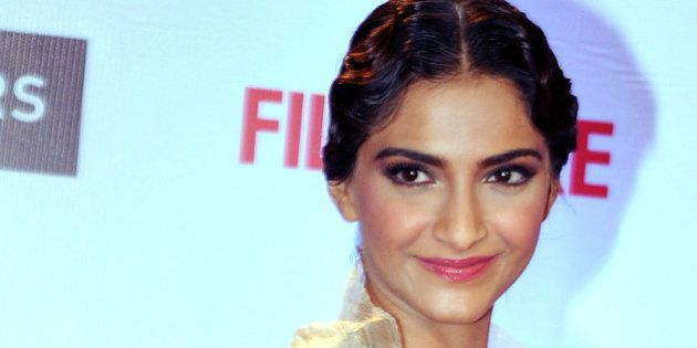 Indian Bollywood actress Sonam Kapoor attends the '61st Filmfare Awards 2016' ceremony in Mumbai on January...