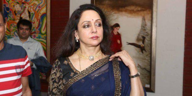 NEW DELHI, INDIA - JUNE 28: Bollywood actor Hema Malini at the Exhibition Ganpati & Chromophore by Artists...