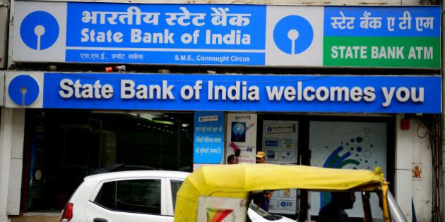 NEW DELHI, INDIA - AUGUST 15: State Bank Of India Bank branch at Connaught Circus on August 15, 2014...
