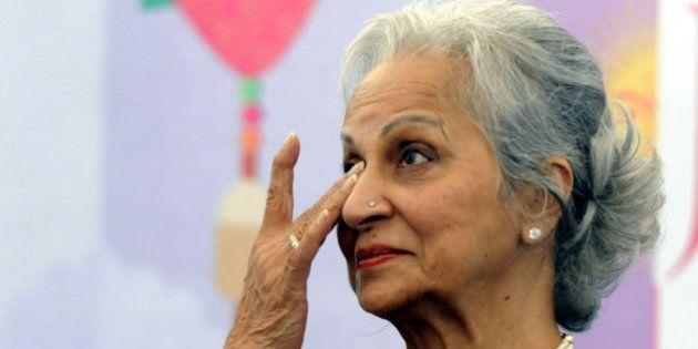 JAIPUR, INDIA - JANUARY 22: Veteran bollywood actress Waheeda Rehman got emotional as she remembered...