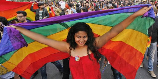 NEW DELHI, INDIA - NOVEMBER 29: A LGBT rights activist holds rainbow flag during Delhi Queer Pride March...