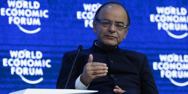 Arun Jaitley, India's finance minister, speaks on the panel of the Global Economic Output session at...