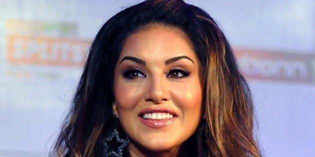 Canadian Bollywood actress Sunny Leone poses as she hosts Indian television reality show MTV Splitsvilla...