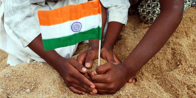 children giving support to the Indian