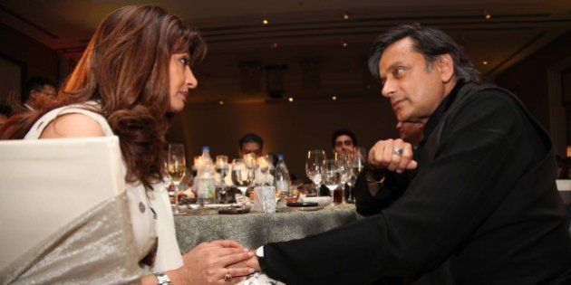 GURGAON, INDIA - MARCH 21: Indian politician Shashi Tharoor with his wife Sunanda Pushkar Tharoor during...